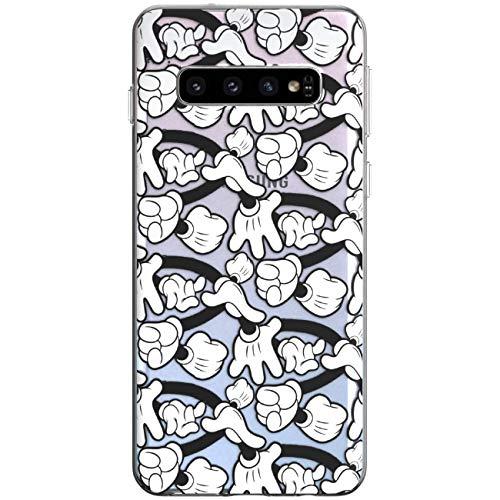 WooWie TPU Silicone Phone Case for Samsung J8 J7 V J6 Prime J5 J4 Core J3 J2 Pro J1 Mickey Girls Print Lightweight Full Body Cartoon Scratch Resistant Black White Clipart Design Woman Hands Slim Fit]()