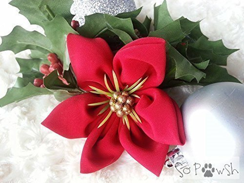 Red Christmas Flower Pet Collar Accessory