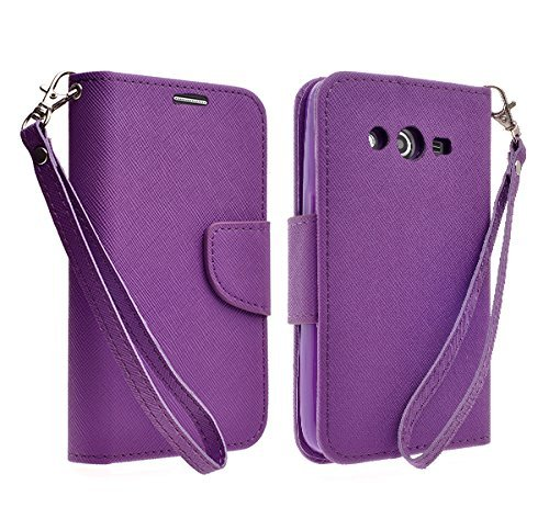 Galaxy Wireless Magnetic Leather Flip Wallet Pouch Samsung Galaxy Avant G386T (T-Mobile), Slim Folio with Kickstand (PURPLE WALLET) (Phone Avant Case T Galaxy Mobile)