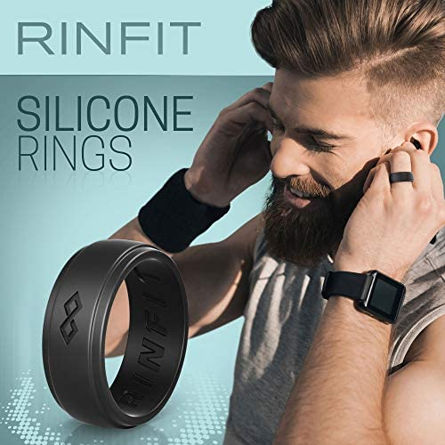 Rinfit Silicone Wedding Ring for Men  3 Rings Set Designed Safe Soft Rubber Silicone Men Wedding