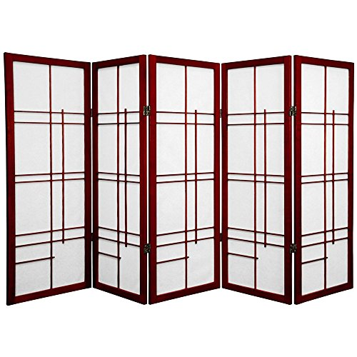 Oriental Furniture 4 ft. Tall Eudes Shoji Screen - Rosewood - 5 Panels(B)