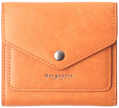 Small Leather Wallet for Women, RFID Blocking Women's Credit Card Holder Mini Bifold Pocket Purse (Limited Edition-Ice Orange) (Credit Leather Billfold Card)