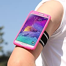Galaxy Note 4 Armband, MoKo Silicone Armband for Samsung Galaxy Note 4(2014) 5.7 inch - Key holder Slot, well-rounded protection, Perfect Earphone Connection while Workout Running, MAGENTA