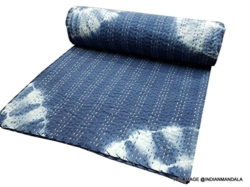 - tie dye kantha bedcover Hand Tie Dye Shibori Print Mandala Quilt Set, Comforter, Indigo Blue Kantha Quilt Japuri