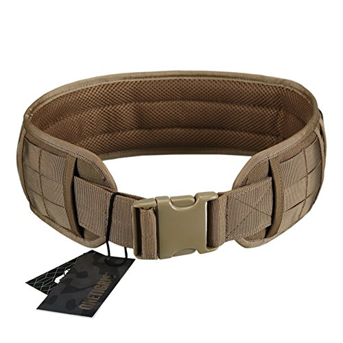 OneTigris Padded Patrol Belt Dual-use MOLLE Belt with Mesh Lining for Shooting Airsoft Wargame Paintball Hunting (Coyote Brown - 1000D Nylon, Medium)