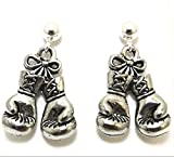 Pewter Boxing Gloves Charms on Hypoallergenic Ball Post Stud Earrings