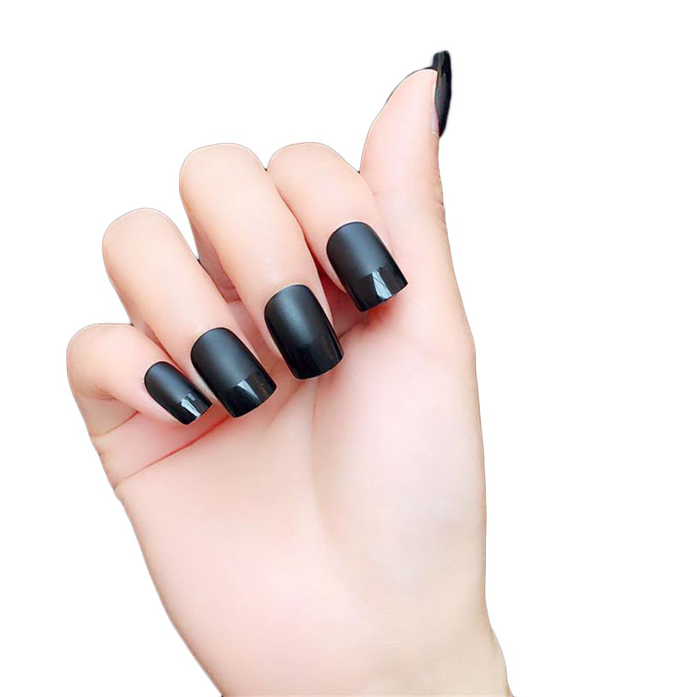 JINDIN 24 Sheet Short Matte French Fake Nails for Women Acrylic False Nail Full Cover Art Tips Decorated Black