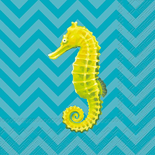 Celebrate the Home Tropical 3-Ply Paper Cocktail Napkins, Seahorse Chevron, 20 Count