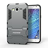 J7 Case, Galaxy J7 Case, Pasonomi® [Heavy Duty] [Shock-Absorption] [Kickstand Feature] Hybrid Dual Layer Armor Defender Full Body Protective Case Cover for Samsung Galaxy J7 2015 (Kickstand Series Grey)