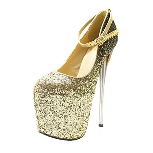 Mujer Glitter Platform Pump Super High Metal Stiletto Dress Zapatos De Boda No.90 Golden