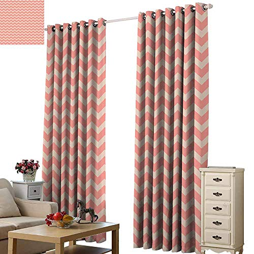 Beihai1Sun 3D Digital Printing Curtain Peach Zigzag Chevron Pattern Geometric Soft Colored Old School Vintage Abstract Artwork Coral Peach Cartoon Modern Style Window Drape W108 x H84 (System School Old Solar)