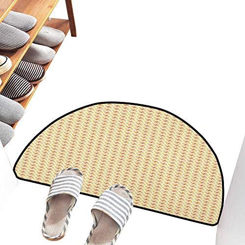 - Axbkl Fashion Door mat Pinwheel Abstract Motif in Pastel Tone Kids Geometric Circles Spring Joyful Durable W24 xL16 Apricot Mustard White