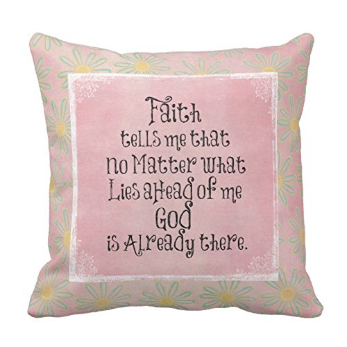 UOOPOO Inspirational Faith Quote Throw Pillow Case Square 20 x 20 Inches Soft Cotton Canvas Home Decorative Wedding Cushion Cover for Sofa and Bed One Side by UOOPOO-US