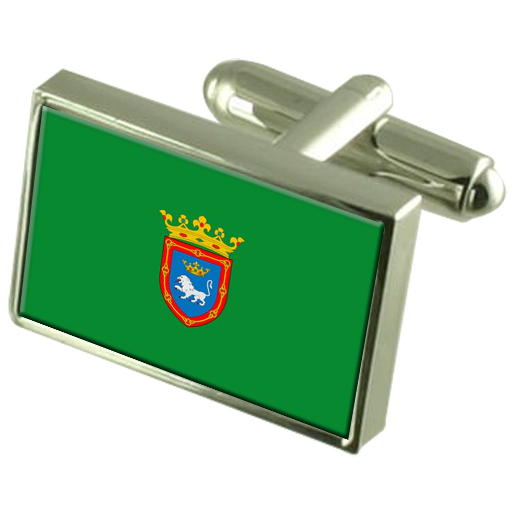 Pamplona City Spain Flag Cufflinks Engraved Box