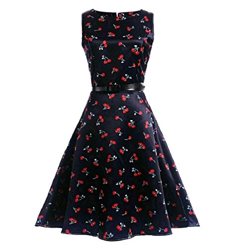 Print Swing Women Coolred Pattern9 A Sleeveless Dress Retro Floral 50s Line g6xSq