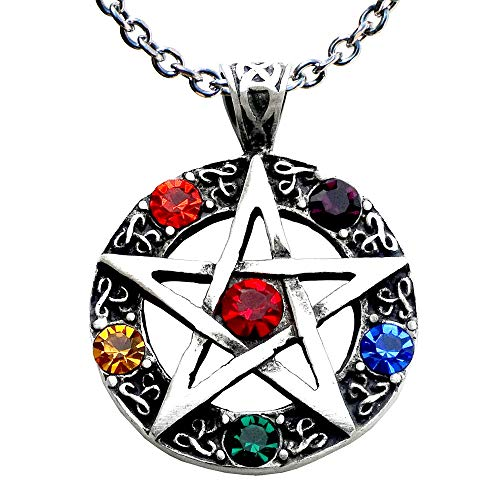 Pentagram Magic - OhDeal4U Pagan Infinity Stone Celtic Pentagram Pentacle Star Crystal Pewter Pendant Charm Amulet Medallion Necklace Choker (Stainless Steel Chain)