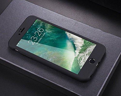 Custodia Cover 360 gradi Protezione per iPhone 6/6S plus Silicone Morbida,Ukayfe [2 in 1] Completa Full Body Cover in Vetro Temperato Screen Protector Film Ultra Resistente per iPhone 6/6S plus Flexib Nero
