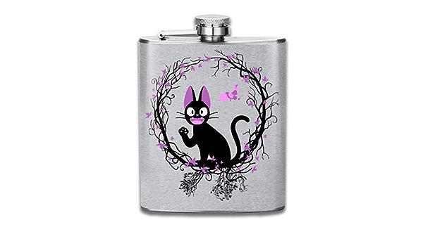 Kikis Delivery Service Kiki Cat Circle Print Hip Flask Pocket Bottle Flagon 7oz Portable Stainless Steel Flagon