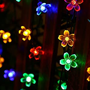 easyDecor 2 Packs Solar String Lights 50 LED 23ft 8 Modes Blossom Flower Garden Christmas lights for Outdoor Indoor Party Wedding Patio Holiday Decorations (Multi Color)