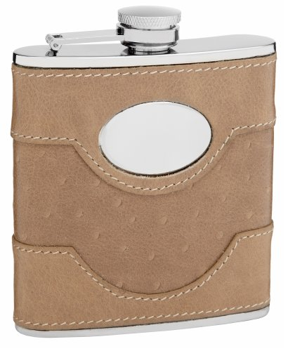 (6oz Tan Suede Leather Flask, Free Engraving)