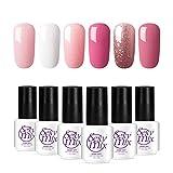 uv nails polish - Gel Nail Polish for Nails, Soak Off UV Pink Gel Kit Required Gel Base Top Coat LED Nail Lamp
