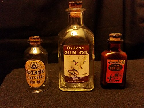 3...Vintage Style Gun Oil Glass Bottles Outer's, Gunslick & Stoeger...by .Artist (Bottle Glass Gun)