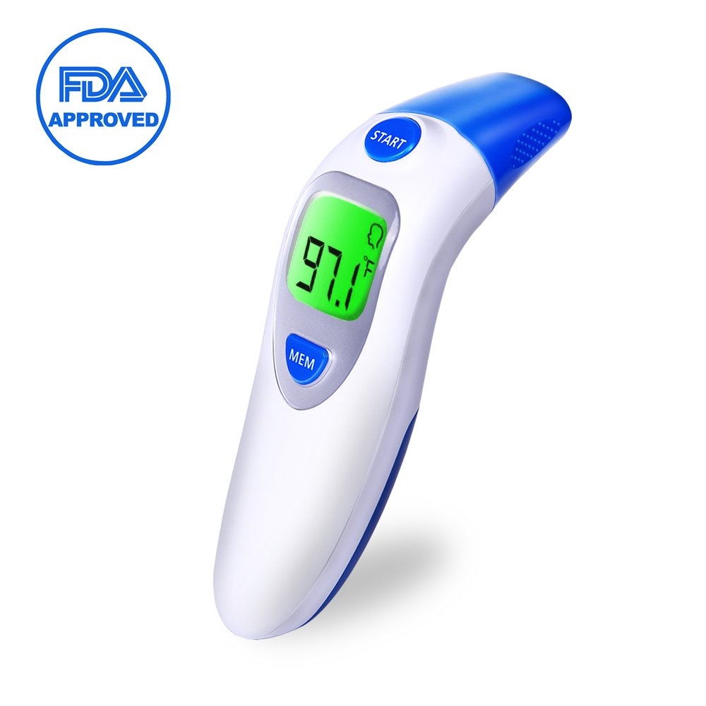 Baby Ear and Forehead Thermometer, OKWINT Digital Medical Infrared Fever Thermometer Professional 4 in 1 Suitable for Baby, Infants, Toddlers, Adults, FDA Approved