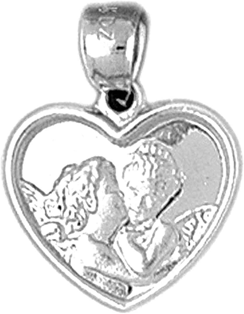 Jewels Obsession Heart With Angels Pendant Sterling Silver 925 Heart With Angels Pendant 19 mm