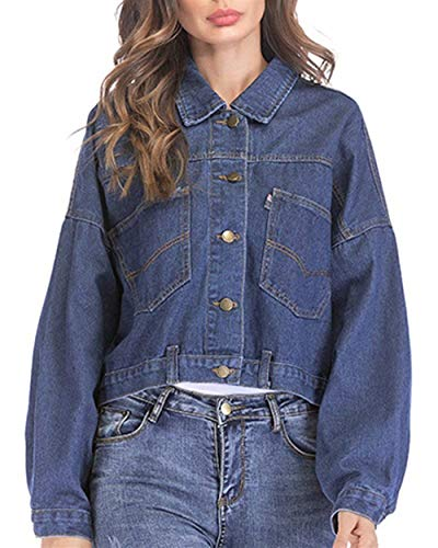 Giacche Autunno Lunga Giacca Elegante Cappotto Jeans Primaverile Casuale Streetwear Dunkelblau Relaxed Rinalay Manica Donna Outwear Corto q8TvBxt