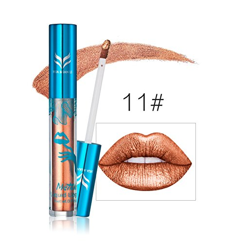 Zerorun Matte Long Lasting Lip Gloss Shiny Waterproof Metallic Bronze Lipgloss Not Stick the Cup Lipstick #11