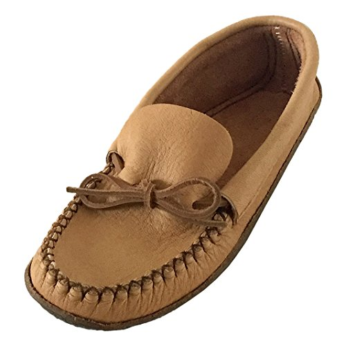 Bastien Industries Men's Moose Hide Leather with Heavy Oil Tan Sole Earthing Moccasins (13) ()