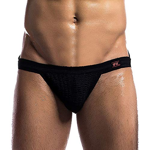 Sunmoot Mens Sexy Jock Straps, Men Briefs Thong Waistband Athletic Supporter T-Back Underwear Black