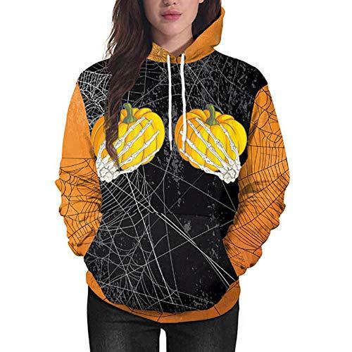 kaifongfu Women Sweatshirt with Pumpkin Ghost Claw Halloween Hooded(Black,XL)