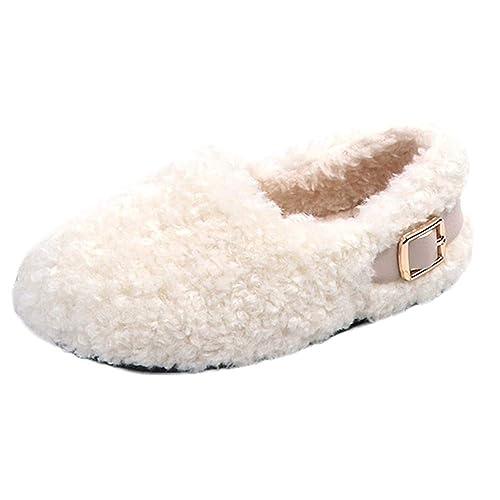 Patucos Bebe Recien Nacido, ❤️ Zolimx Niños Infantil Niña Sólida Invierno Caliente Mullidas Flock Solo Botton Casual Zapatos