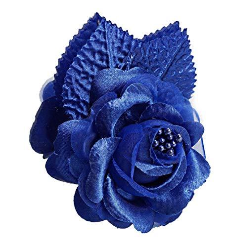 CB 12 Silk Roses Wedding Favor Flower Corsage Pick - Royal Blue