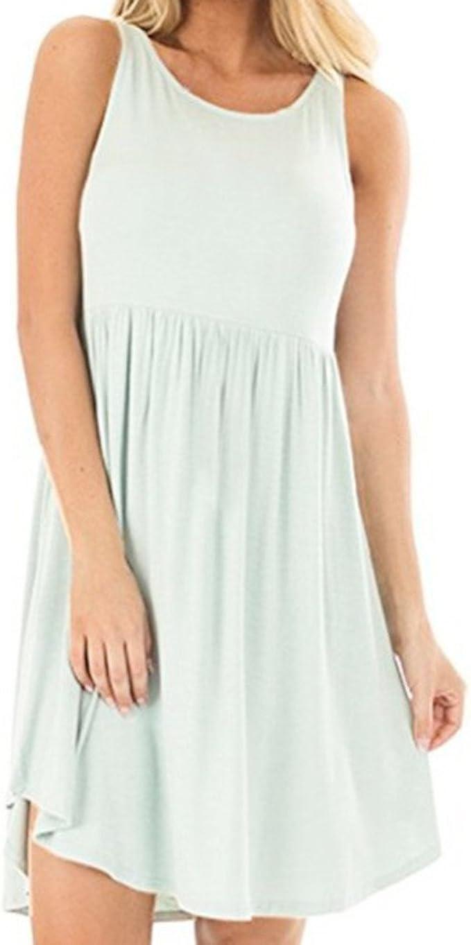 Women Hight Waist Tank Dress,Lkoezi Lady Solid O-Neck Simple Sundress Sleeveless T-Shirt Skirt Loose Camis Casual Dress