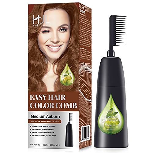 HJL Hair Color Permanent Hair Dye Cream with Comb Applicator Ammonia Free Easy Use Hair Coloring Kit, Medium Auburn, Pack of 1