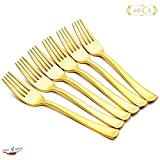 """60 Pcs Gold Plastic Cutlery Forks Shiny Mirror, 7.4"""" 6gr per unit with Sharp Point and Long Tines; Fourchettes en plastique doré; Quality Silverware for Cheese, Vegetables, Fruits or Pie during Family Meals, Parties Essential, Weekend Gatherings, Catering"""