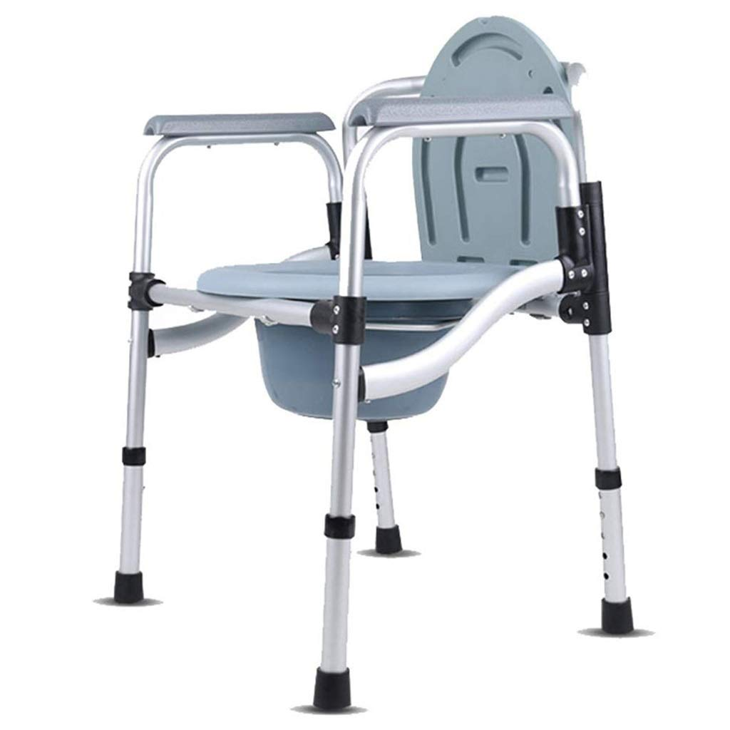 G-LXYZBQSHYP Handicapped Toilet Chair Portable Height Adjustable Foldable Commode Chair Bathroom Shower Stool by G-LXYZBQSHYP