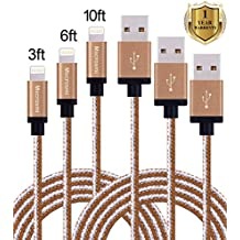 Mscrosmi 3Pack 3FT, 6FT, 10FT Apple lightning Nylon Braided Charging Cord USB For iPhone 5/5s/5c/5se,6/6s,6/6s Plus, iPod, iPad Mini, iPad, iPad Air [gray & brown]