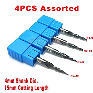 4pcs/package Assorted CNC 2D and 3D Carving R0.25 & R0.5 & R0.75 & R1.0 with 4mm and 15mm cutting length shank Tungsten solid carbide Tapered Ball Nose End Mills and cone cutter HRC55 with coated from JERRAY TOOLS
