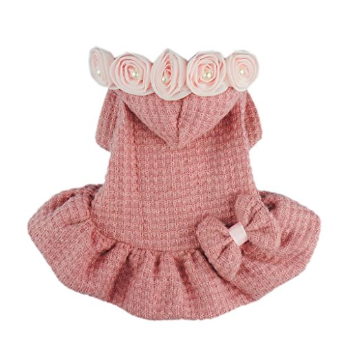 Fitwarm® Adorable Bowknot Pink Dog Sweaters for Pet Hoodies Coats Dress Clothes, Medium
