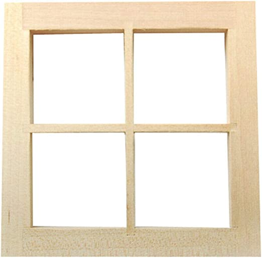 New 1:12 Dollhouse 12-pane Wooden Window Frame Miniature Doll Houses