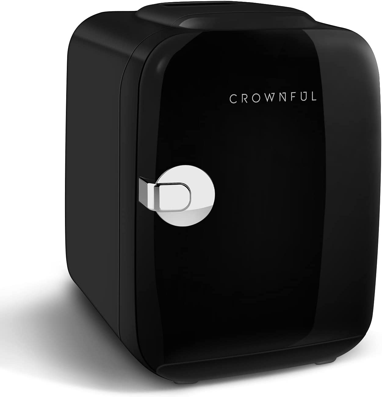 CROWNFUL Mini Fridge, 4 Liter/6 Can Portable Cooler and Warmer Personal Refrigerator for Skin Care, Cosmetics, Beverage, Food,Great for Bedroom, Office, Car, Dorm, ETL Listed (Black): Automotive