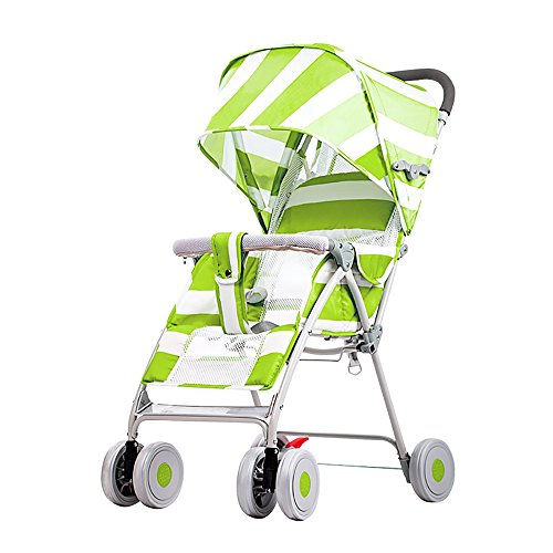 Stroller Oxford - Stroller Oxford Cloth Lightweight Folding Backrest Adjustable Baby Stroller Stroller Four Seasons With Shade Cover Out Travel Portable 417090cm (Color : Green)