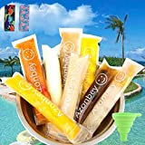 140Pcs Disposable Ice Popsicle Mold Bags,Homemade Ice Pop Bags with A Funnel 2 Popsicle Holders and Zip Seals For Ice Candy Pops,Juice & Fruit Smoothies, Yogurt Sticks Popsicle Bags