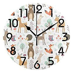 Dozili Lovely Cute Cartoon Forest Animal Deer Fox Bear Owl Pattern Round Wall Clock Arabic Numerals Design Non Ticking Wall Clock Large for Bedrooms,Living Room,Bathroom
