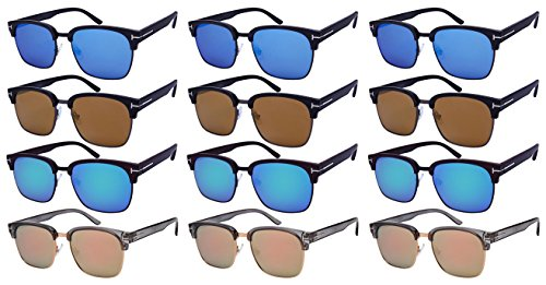 Edge I-Wear 12-Pack Plastic Horned Rim Sunglasses w/Flat Mirrored Lens - Sunglasses Wholesale Plastic