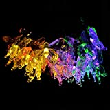 Saingace 4.8M 20 LEDs Solar Power Butterfly Garlands Garden Party String Fairy Lamp Holiday Xmas Wedding Decor (Multicolor)