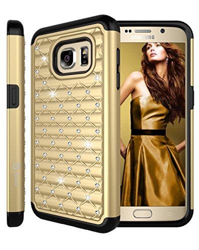 Galaxy S7 Case, Style4U Studded Rhinestone Crystal Bling Hybrid Armor Case Cover for Samsung Galaxy S7 with 1 Style4U Stylus [Gold / Black]
